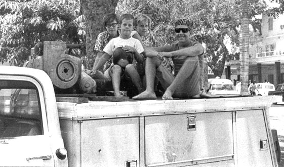 Carlin kids on Dad's truck in Ouagadougou, Upper Volta (now called Burkina Faso).